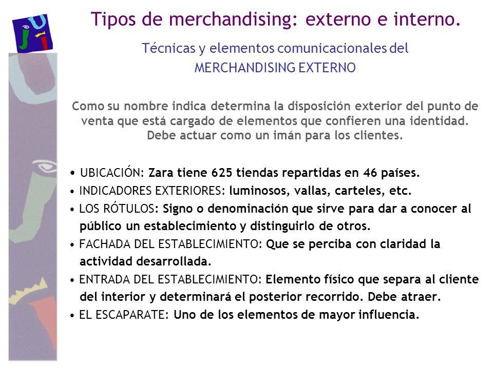 Tipos de merchandising: externo e interno.