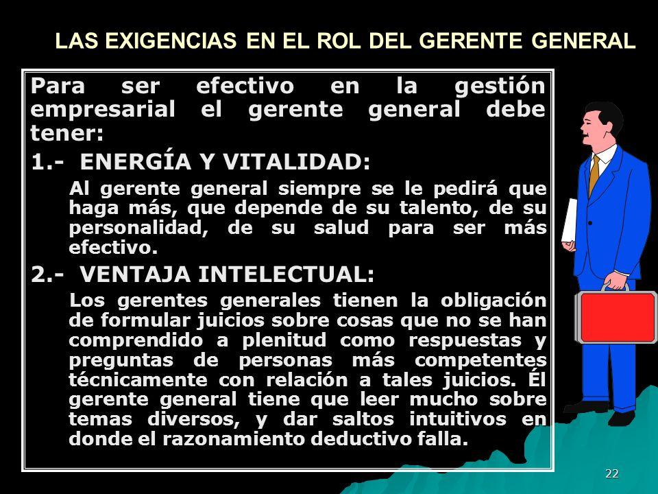 LAS EXIGENCIAS EN EL ROL DEL GERENTE GENERAL