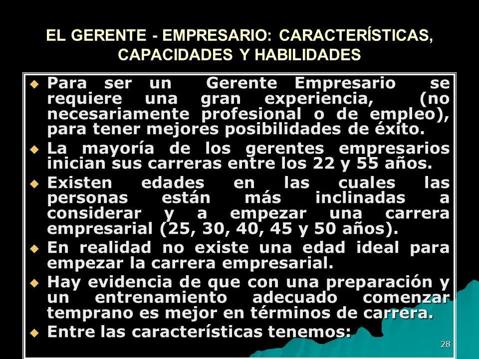 EL GERENTE - EMPRESARIO: CARACTERÍSTICAS, CAPACIDADES Y HABILIDADES