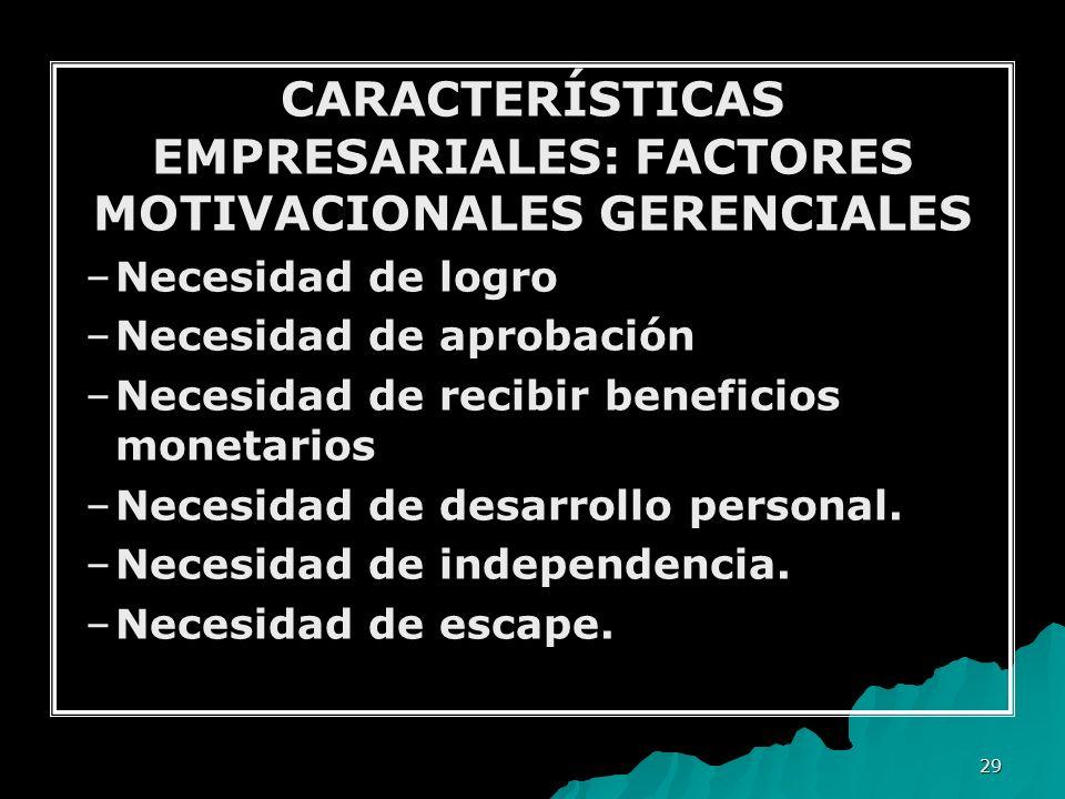 CARACTERÍSTICAS EMPRESARIALES: FACTORES MOTIVACIONALES GERENCIALES