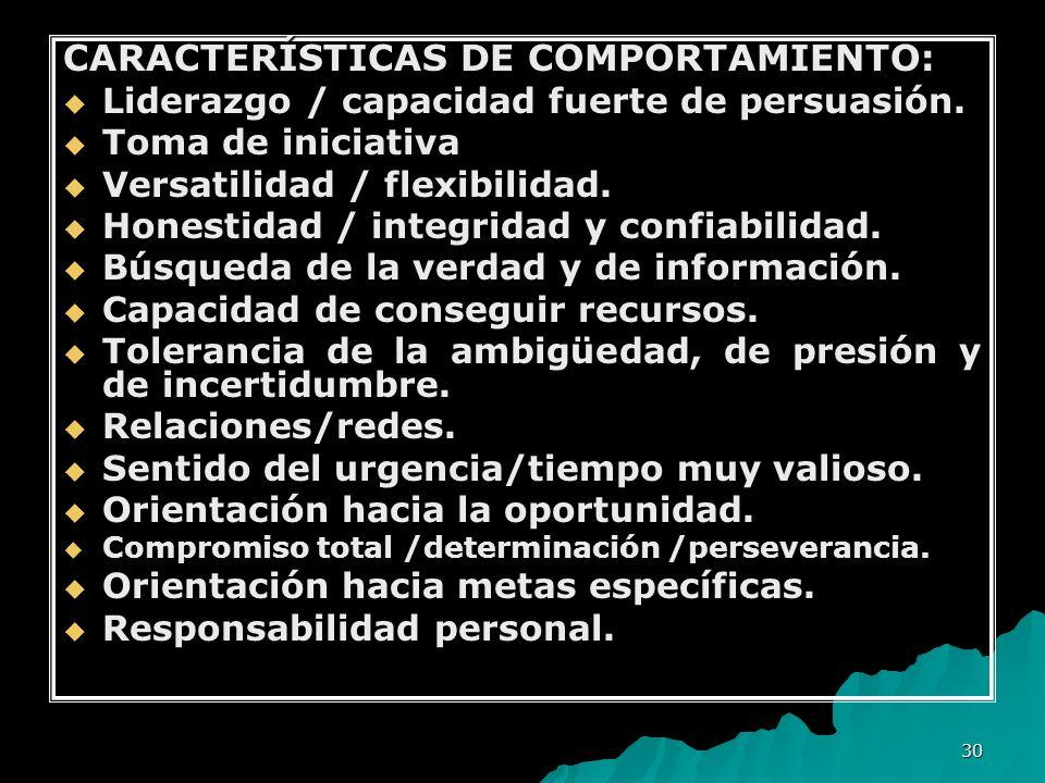 CARACTERÍSTICAS DE COMPORTAMIENTO: