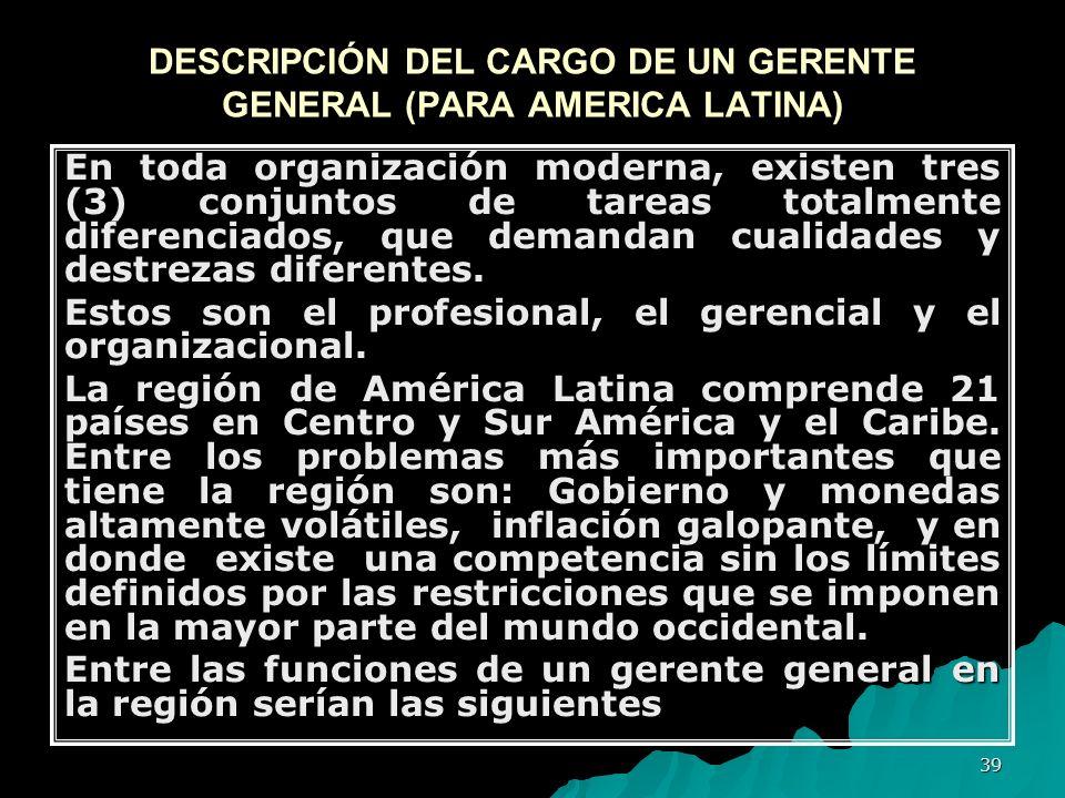 DESCRIPCIÓN DEL CARGO DE UN GERENTE GENERAL (PARA AMERICA LATINA)