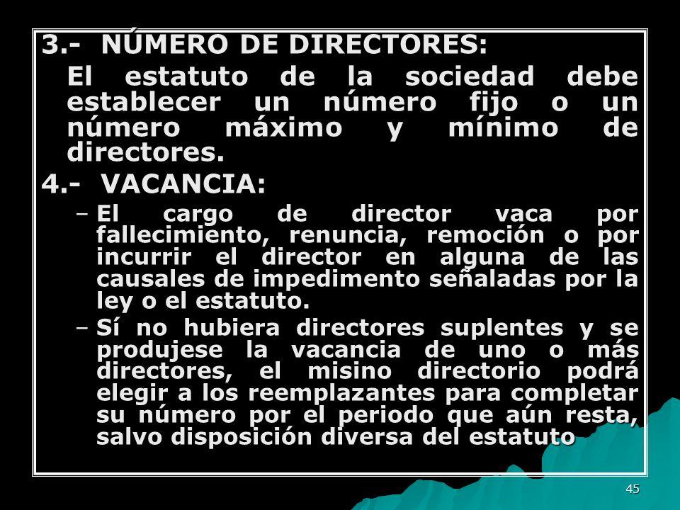 3.- NÚMERO DE DIRECTORES:
