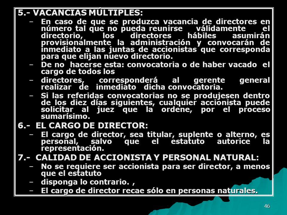 5.- VACANCIAS MÚLTIPLES: