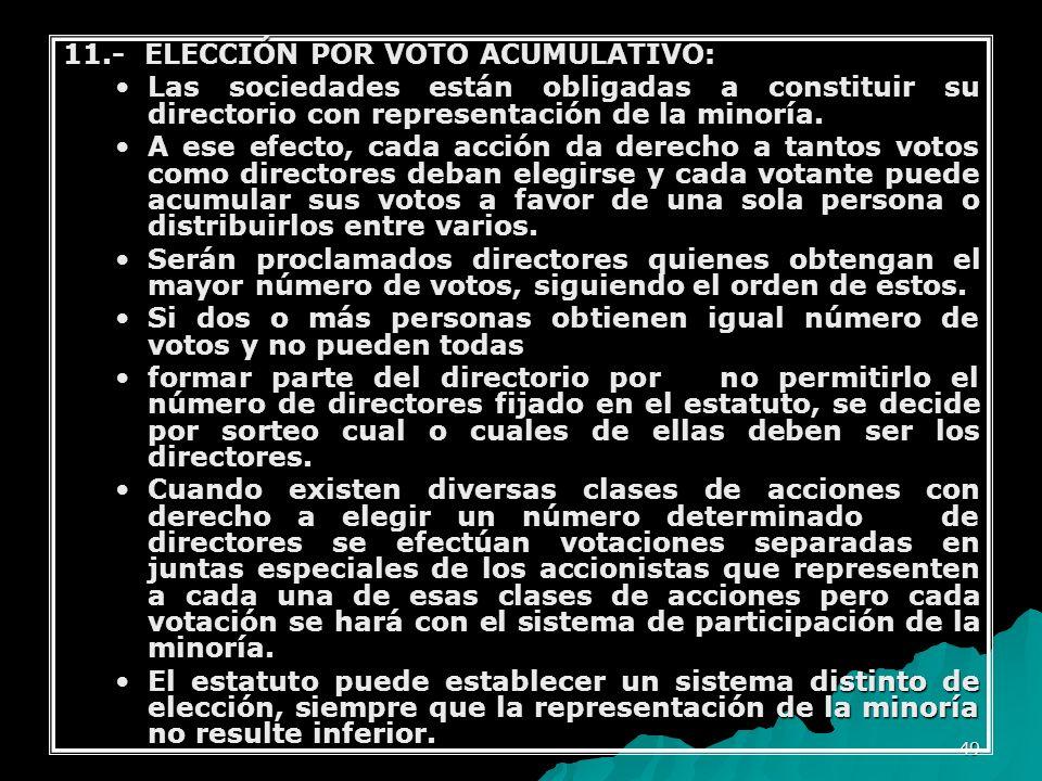 11.- ELECCIÓN POR VOTO ACUMULATIVO: