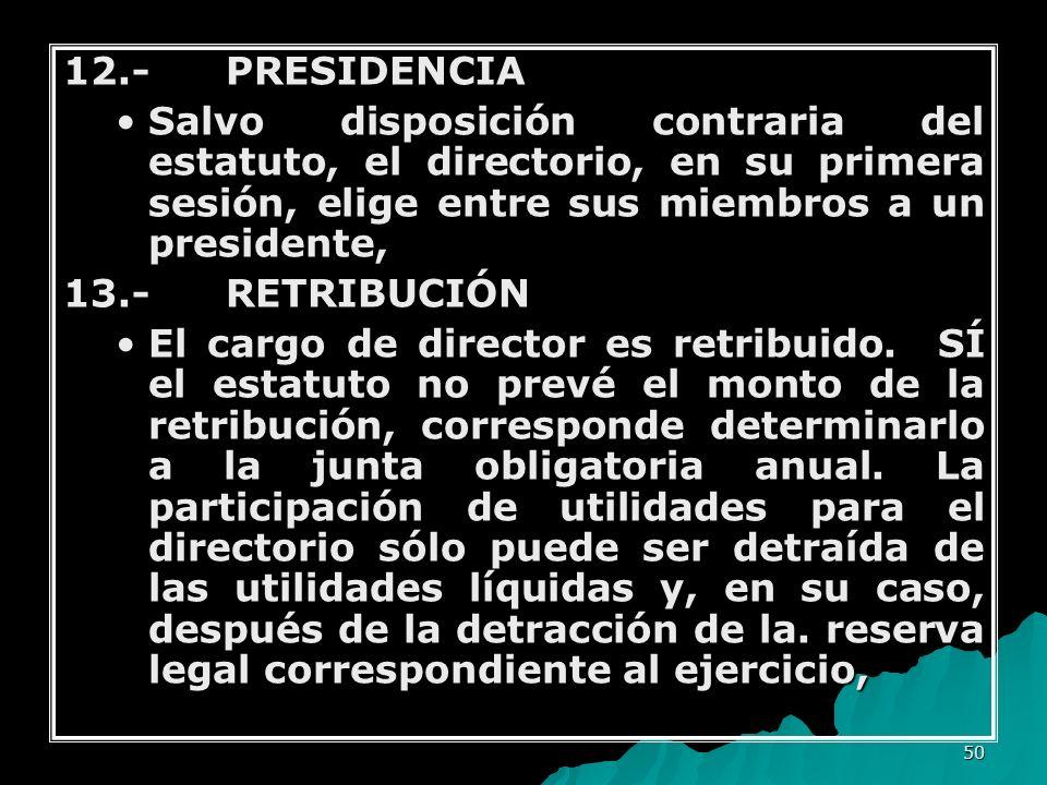 12.- PRESIDENCIA Salvo disposición contraria del estatuto, el directorio, en su primera sesión, elige entre sus miembros a un presidente,
