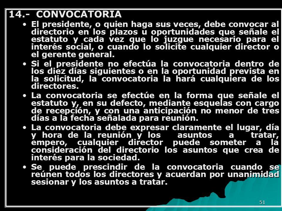 14.- CONVOCATORIA