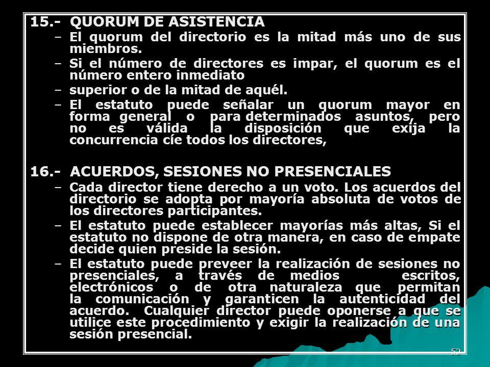 16.- ACUERDOS, SESIONES NO PRESENCIALES