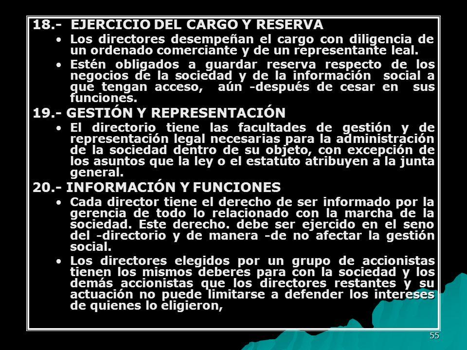 18.- EJERCICIO DEL CARGO Y RESERVA