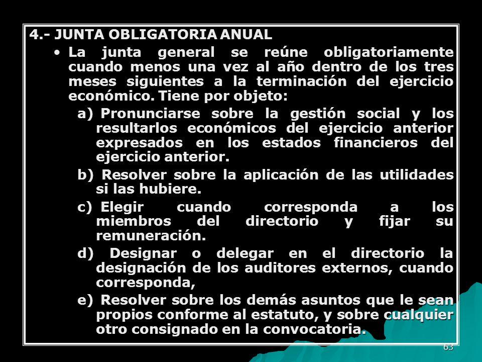 4.- JUNTA OBLIGATORIA ANUAL