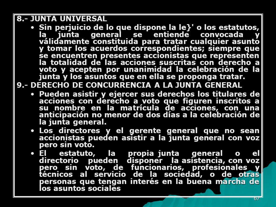 8.- JUNTA UNIVERSAL