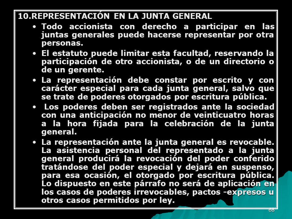 10.REPRESENTACIÓN EN LA JUNTA GENERAL