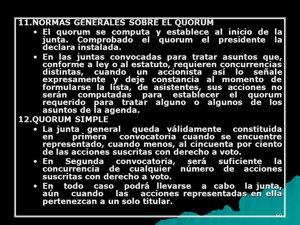 11.NORMAS GENERALES SOBRE EL QUORUM