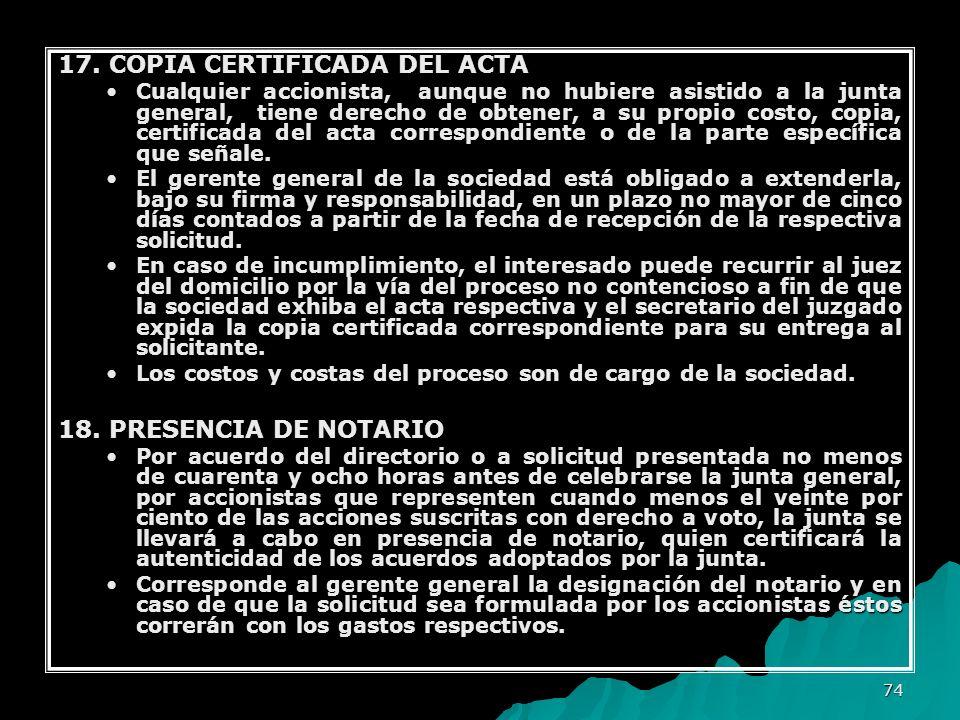 17. COPIA CERTIFICADA DEL ACTA