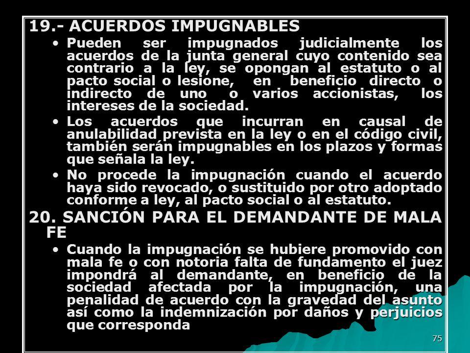 19.- ACUERDOS IMPUGNABLES