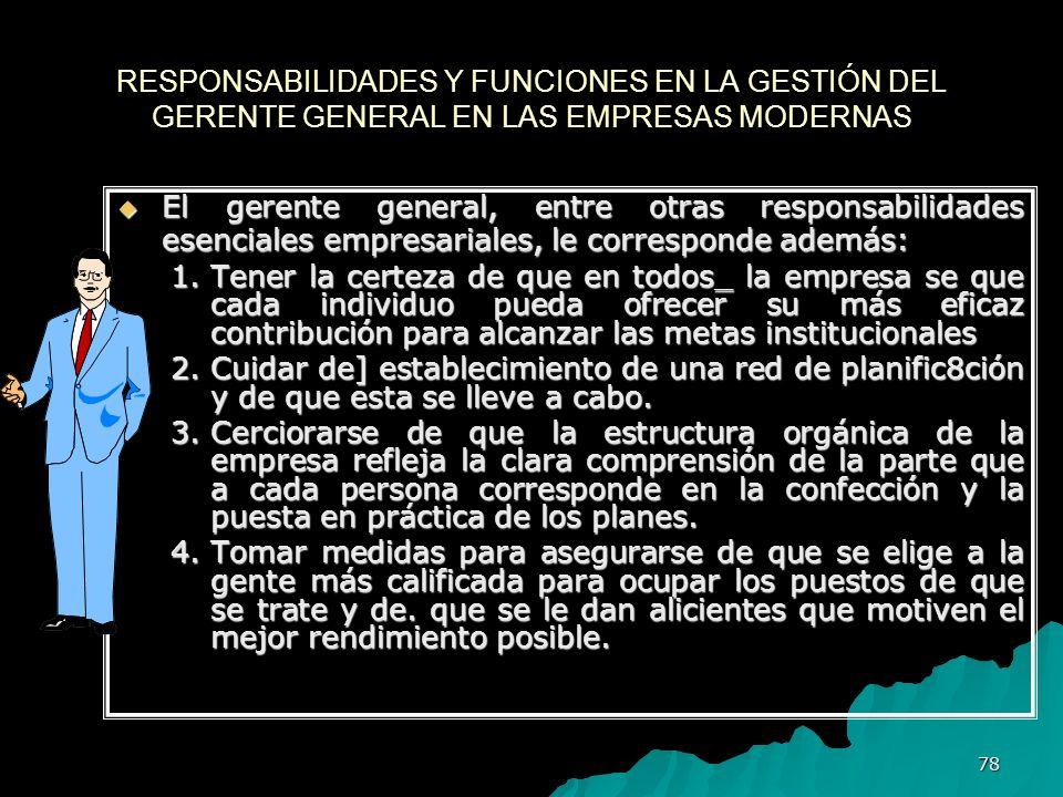 RESPONSABILIDADES Y FUNCIONES EN LA GESTIÓN DEL GERENTE GENERAL EN LAS EMPRESAS MODERNAS