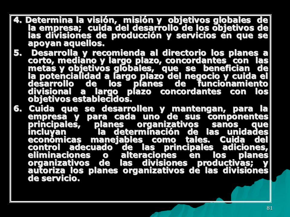 4. Determina la visión, misión y objetivos globales de la empresa; cuida del desarrollo de los objetivos de las divisiones de producción y servicios en que se apoyan aquellos.
