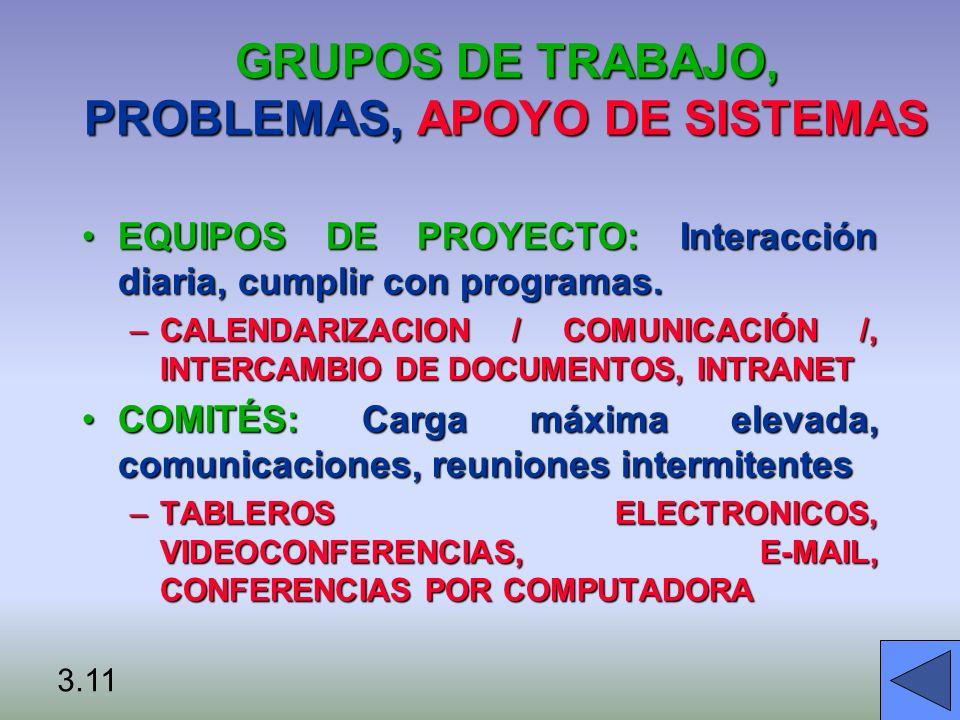 GRUPOS DE TRABAJO, PROBLEMAS, APOYO DE SISTEMAS