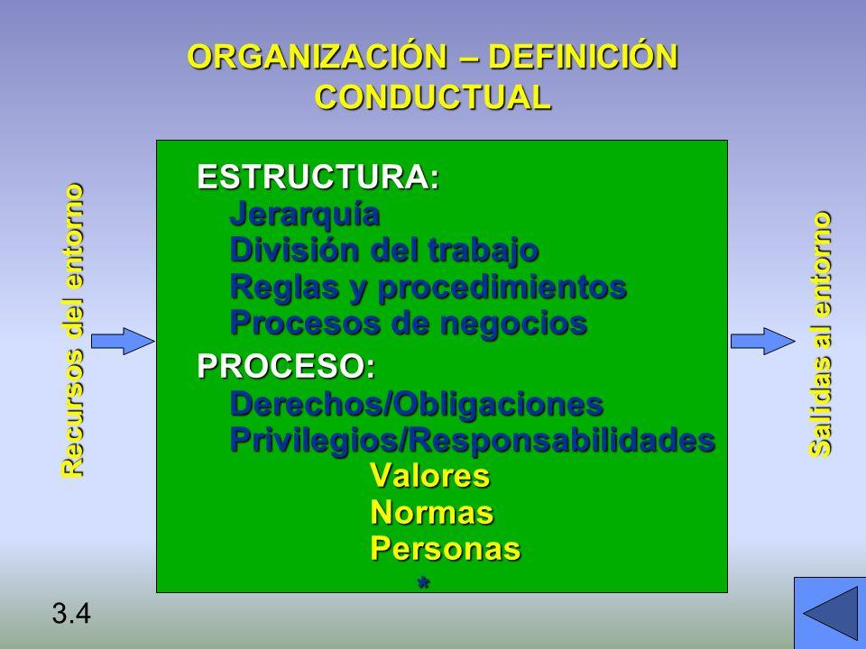 ORGANIZACIÓN – DEFINICIÓN CONDUCTUAL