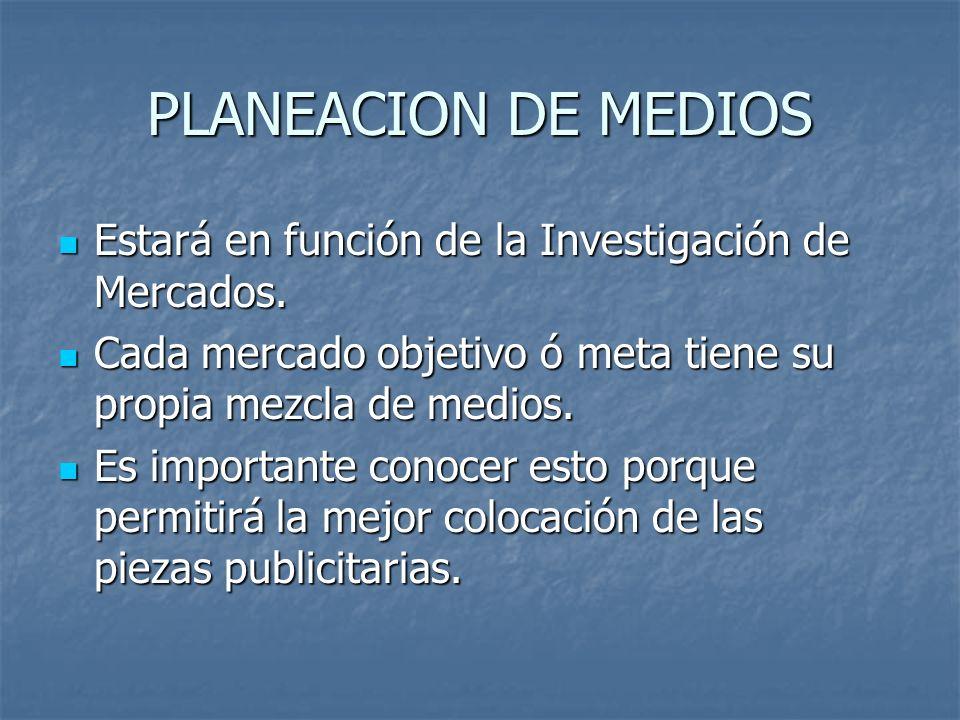 PLANEACION DE MEDIOS Estará en función de la Investigación de Mercados. Cada mercado objetivo ó meta tiene su propia mezcla de medios.