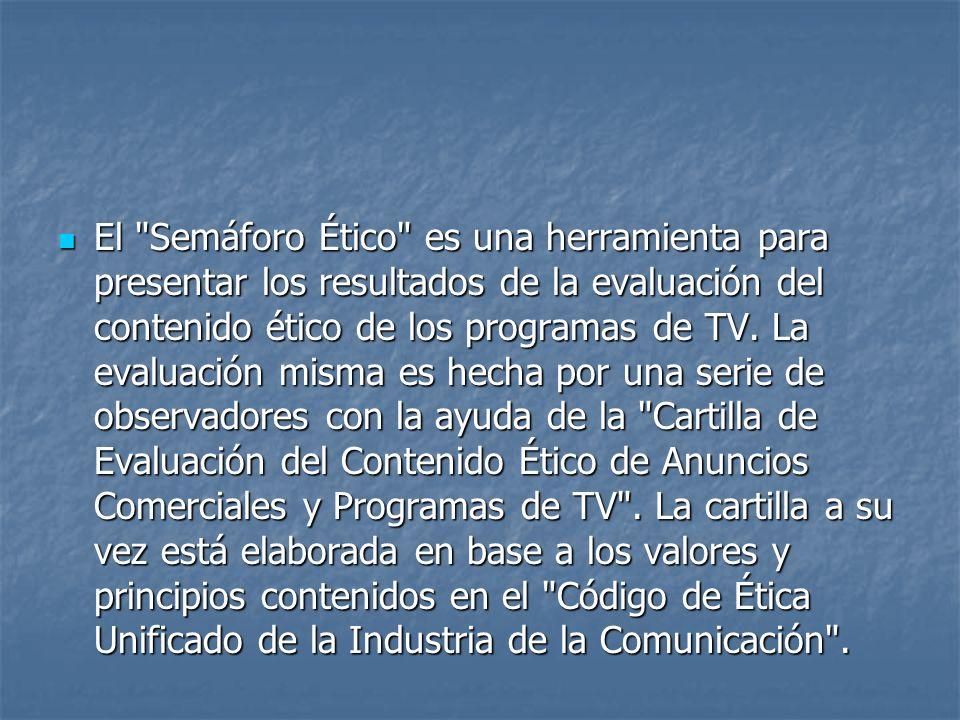 El Semáforo Ético es una herramienta para presentar los resultados de la evaluación del contenido ético de los programas de TV.