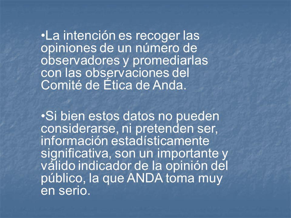 La intención es recoger las opiniones de un número de observadores y promediarlas con las observaciones del Comité de Ética de Anda.