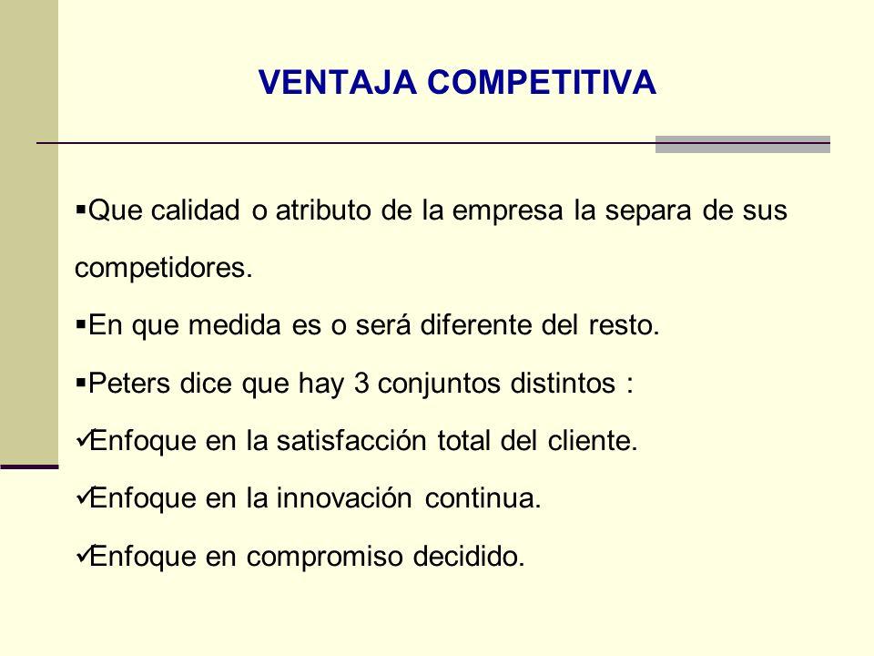 VENTAJA COMPETITIVA Que calidad o atributo de la empresa la separa de sus competidores. En que medida es o será diferente del resto.