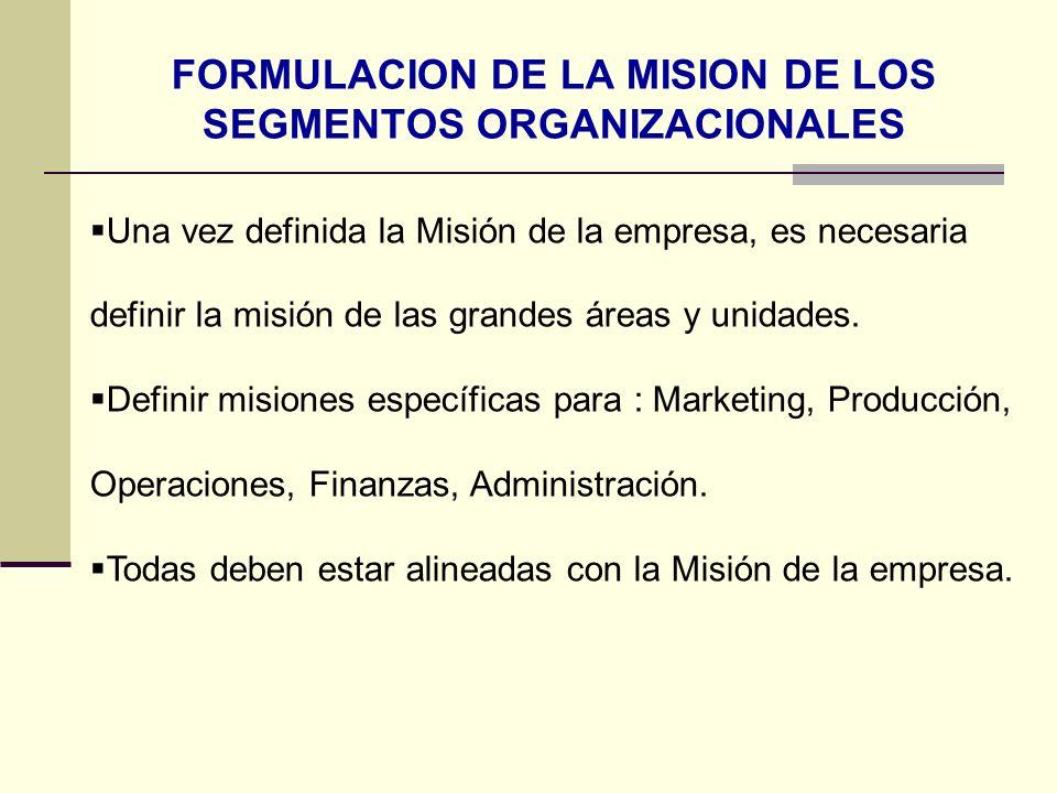 FORMULACION DE LA MISION DE LOS SEGMENTOS ORGANIZACIONALES