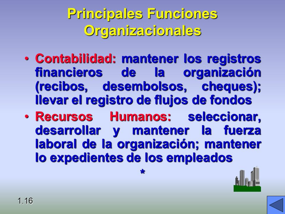 Principales Funciones Organizacionales