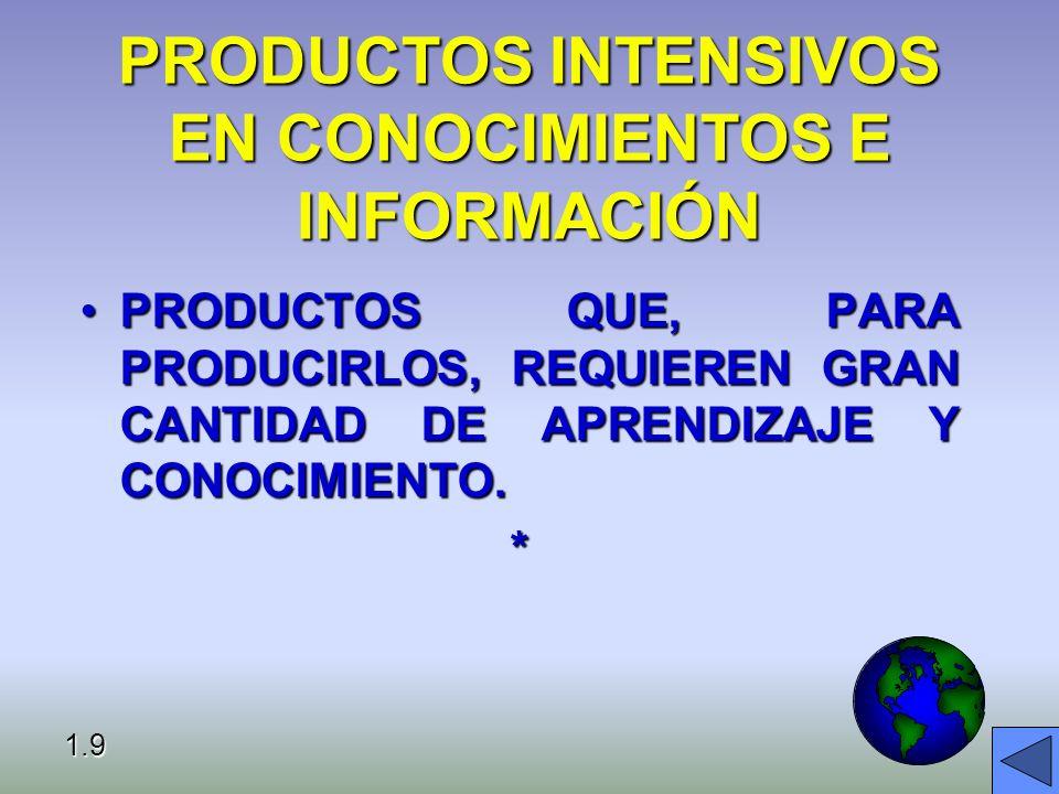 PRODUCTOS INTENSIVOS EN CONOCIMIENTOS E INFORMACIÓN