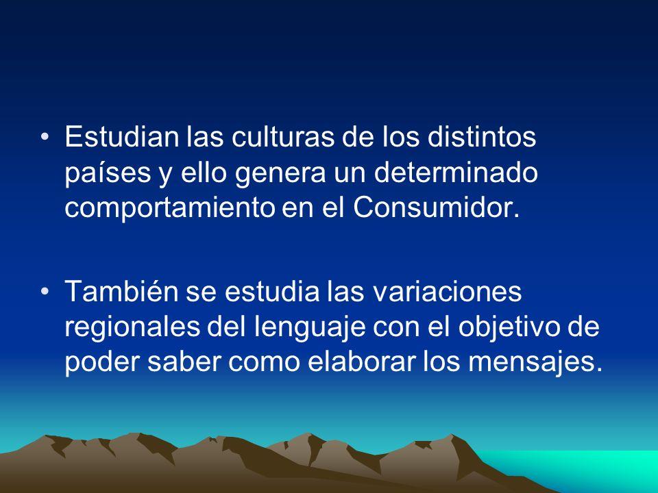 Estudian las culturas de los distintos países y ello genera un determinado comportamiento en el Consumidor.