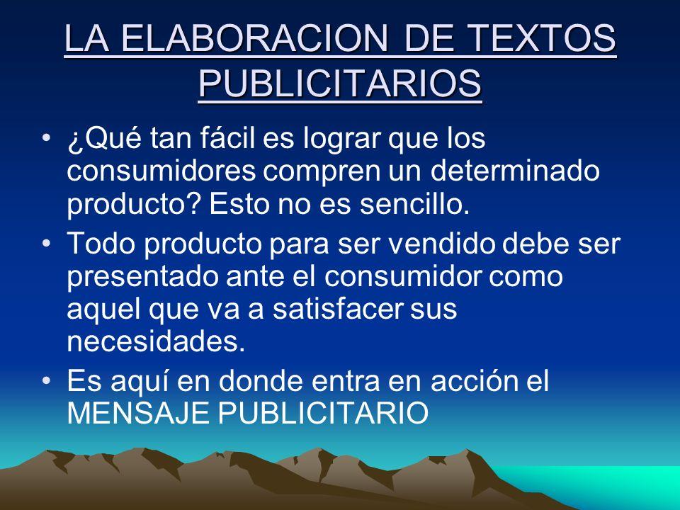 LA ELABORACION DE TEXTOS PUBLICITARIOS