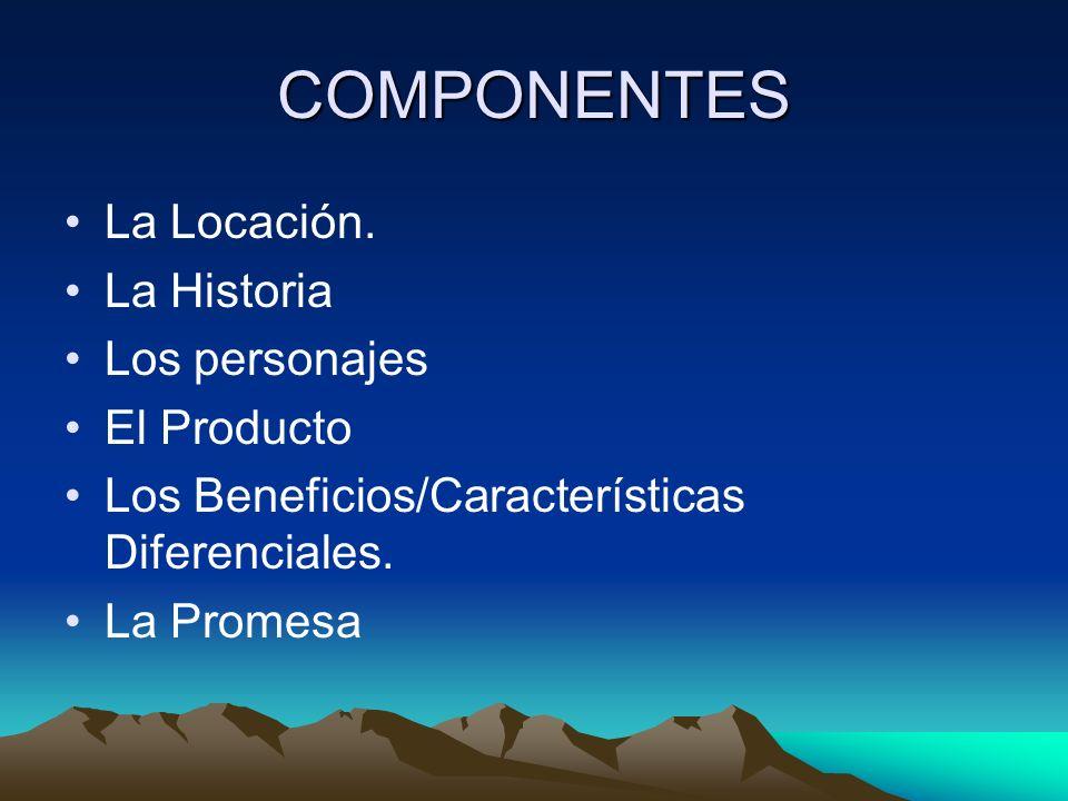 COMPONENTES La Locación. La Historia Los personajes El Producto