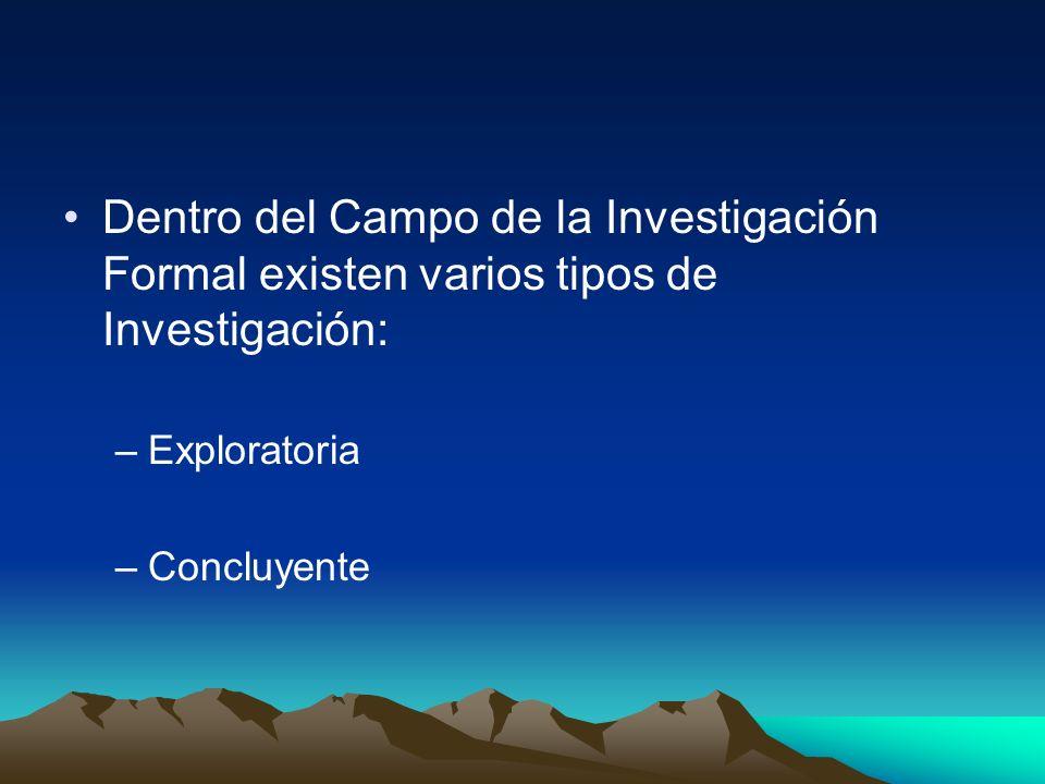 Dentro del Campo de la Investigación Formal existen varios tipos de Investigación: