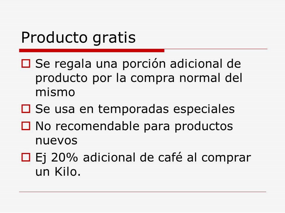 Producto gratis Se regala una porción adicional de producto por la compra normal del mismo. Se usa en temporadas especiales.