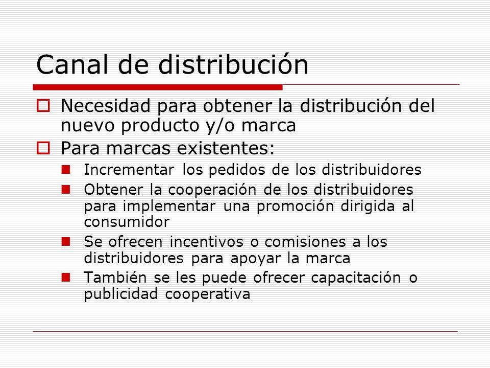 Canal de distribución Necesidad para obtener la distribución del nuevo producto y/o marca. Para marcas existentes: