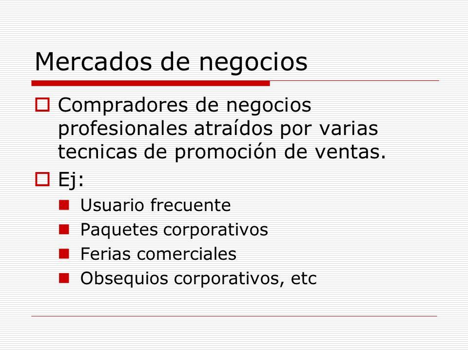 Mercados de negociosCompradores de negocios profesionales atraídos por varias tecnicas de promoción de ventas.