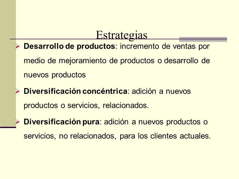 A Estrategias. Desarrollo de productos: incremento de ventas por medio de mejoramiento de productos o desarrollo de nuevos productos.