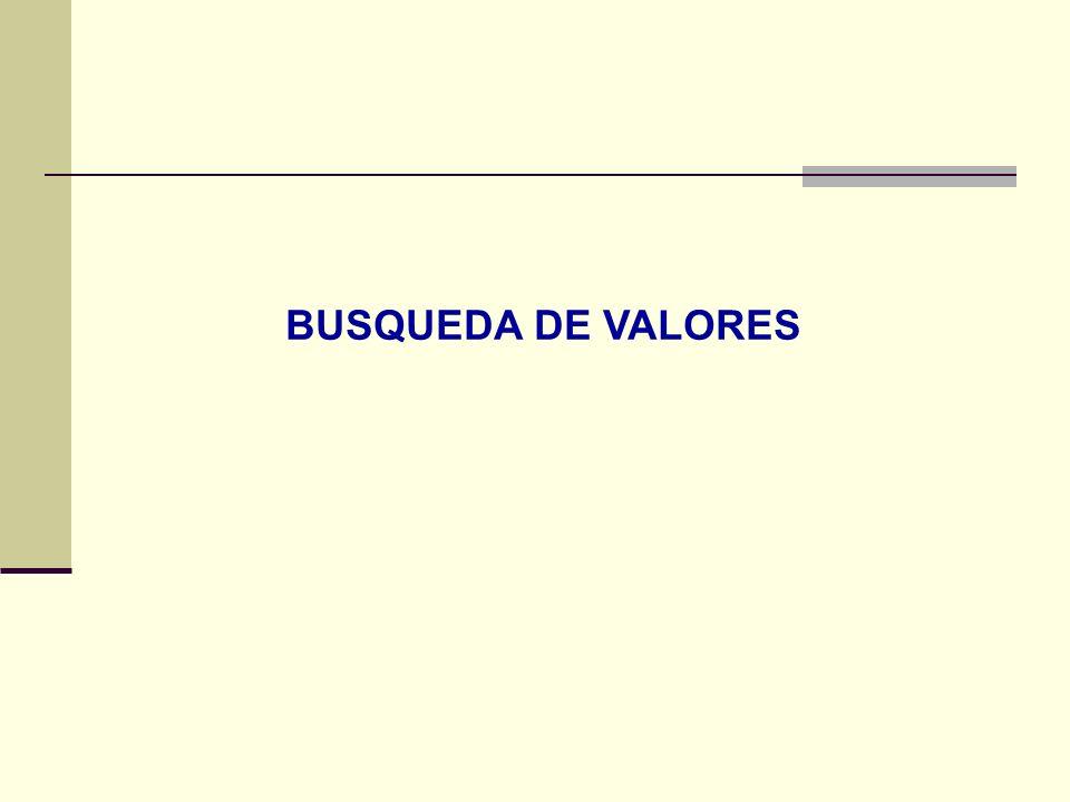 BUSQUEDA DE VALORES