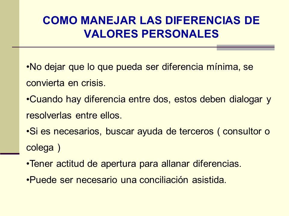 COMO MANEJAR LAS DIFERENCIAS DE VALORES PERSONALES