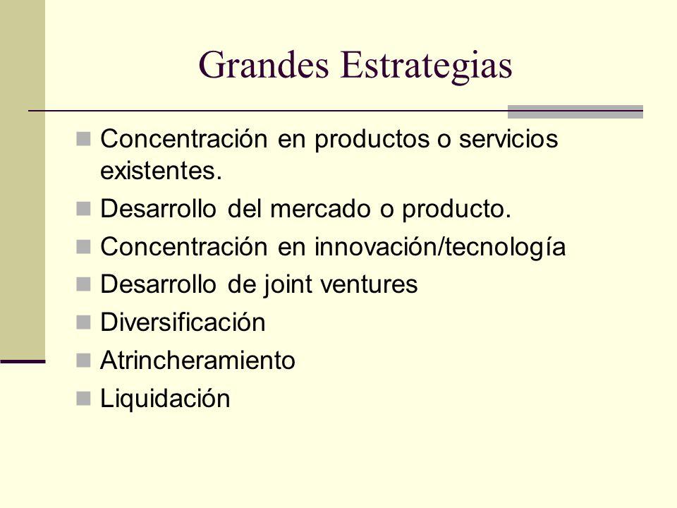 Grandes Estrategias Concentración en productos o servicios existentes.