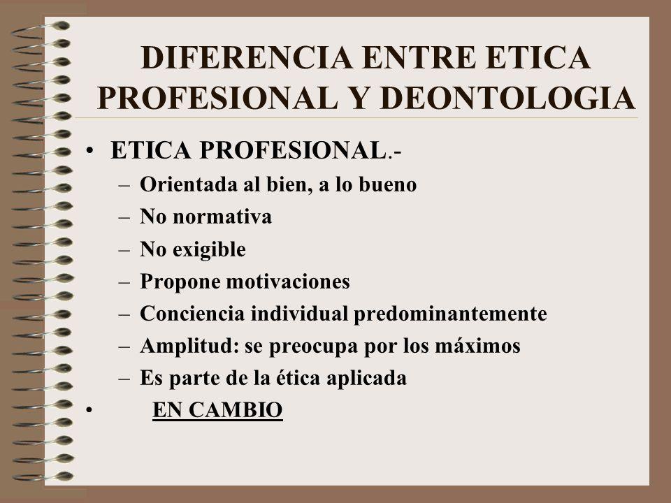DIFERENCIA ENTRE ETICA PROFESIONAL Y DEONTOLOGIA