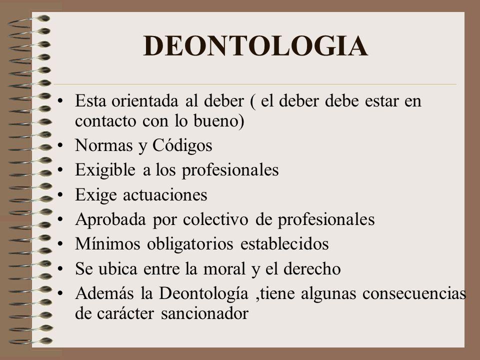 DEONTOLOGIA Esta orientada al deber ( el deber debe estar en contacto con lo bueno) Normas y Códigos.