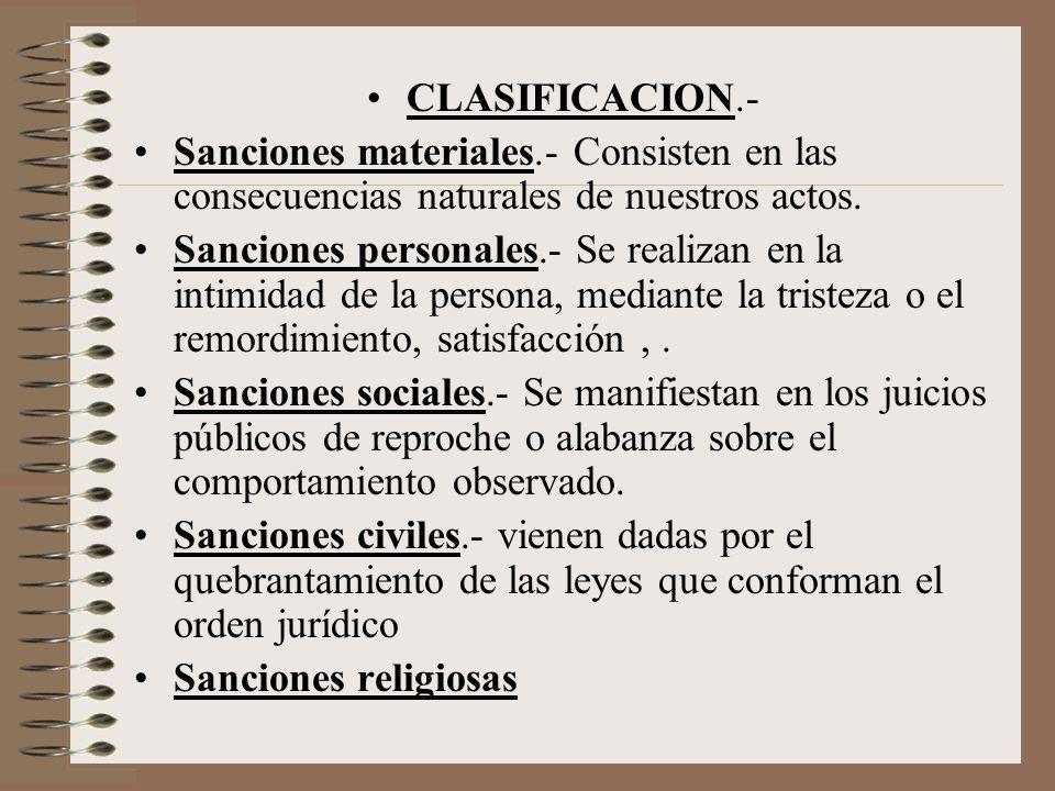 CLASIFICACION.- Sanciones materiales.- Consisten en las consecuencias naturales de nuestros actos.