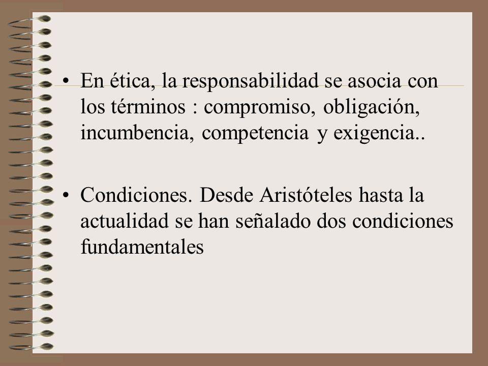 En ética, la responsabilidad se asocia con los términos : compromiso, obligación, incumbencia, competencia y exigencia..