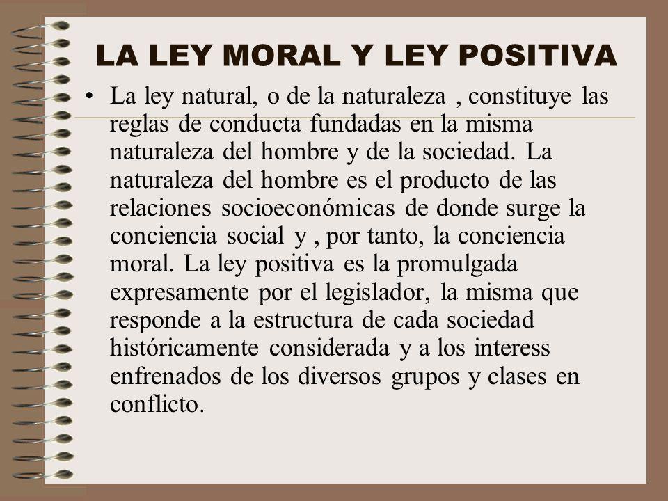 LA LEY MORAL Y LEY POSITIVA