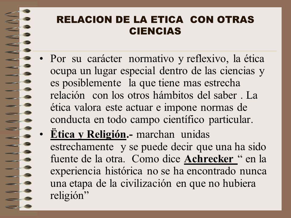 RELACION DE LA ETICA CON OTRAS CIENCIAS