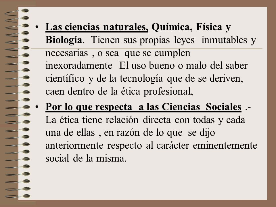Las ciencias naturales, Química, Física y Biología
