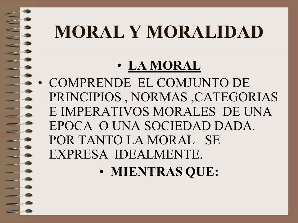 MORAL Y MORALIDAD LA MORAL
