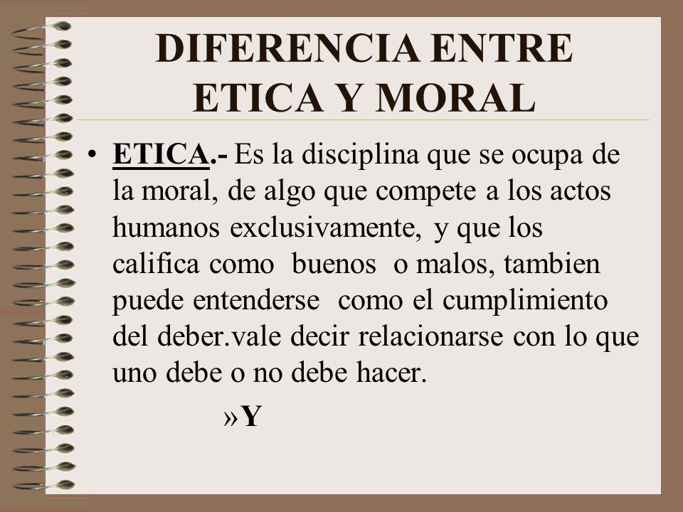 DIFERENCIA ENTRE ETICA Y MORAL